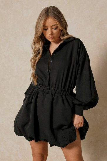 Black Button Up Extreme Puff Sleeve Mini Dress