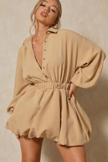 Camel Button Up Extreme Puff Sleeve Mini Dress