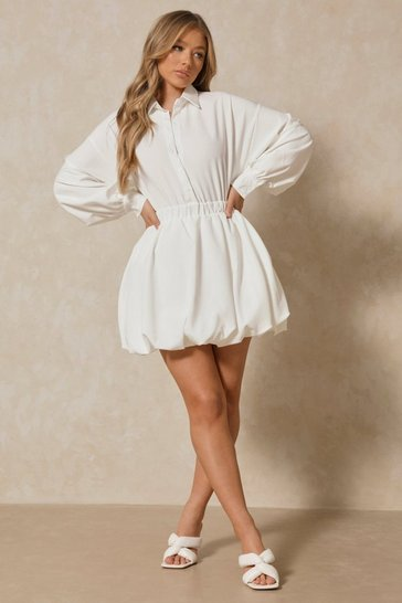 White Button Up Extreme Puff Sleeve Mini Dress