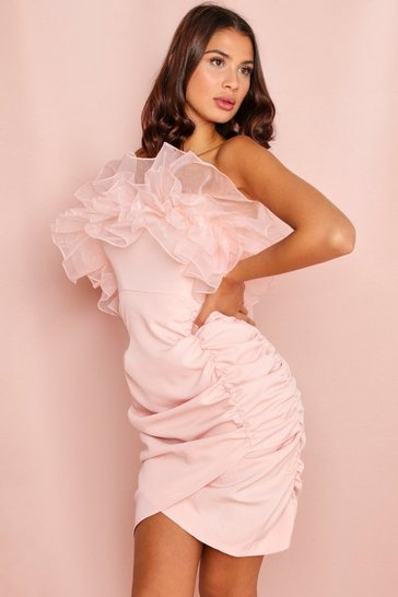 Pink Organza Frill Detail Ruched Mini Dress