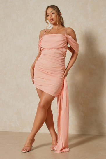 Nude Strappy Off The Shoulder Wrap Detail Mini Dress