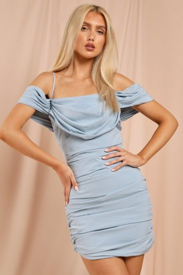 Blue Strappy Off The Shoulder Ruched Mini Dress