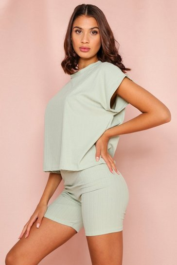 Sage Bandage Boxy Short Set