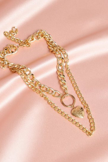 Gold Layered Chain Heart Necklace