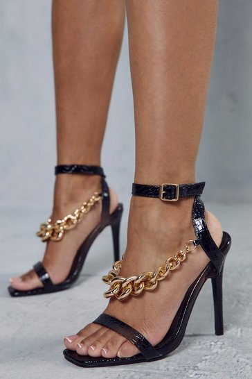 Black Croc Leather Look Chain Detail Heels