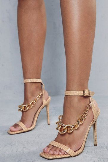Nude Croc Leather Look Chain Detail Heels