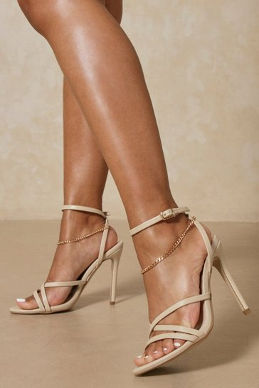 Nude Chain Detail Cross Strap Heels