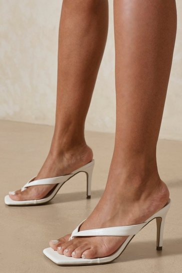 White Leather Look Toe Thong Heeled Mules