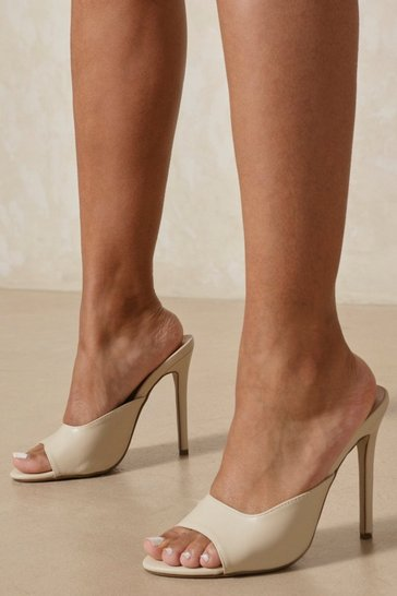 Nude Leather Look Round Toe Mule Heels