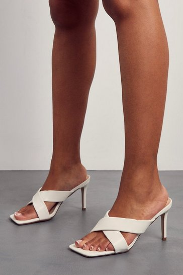 White Faux Leather Cross Strap Square Toe Mule Heels