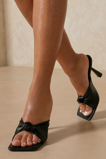 Black Leather Look Twist Detail Mule Heels
