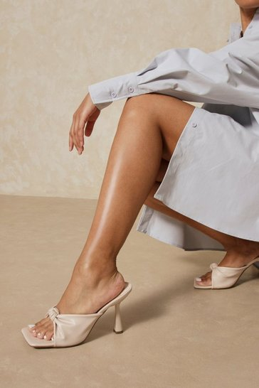 Nude Leather Look Twist Detail Mule Heels