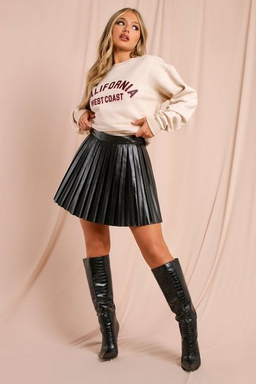 Black Leather Look Pleated Mini Skirt