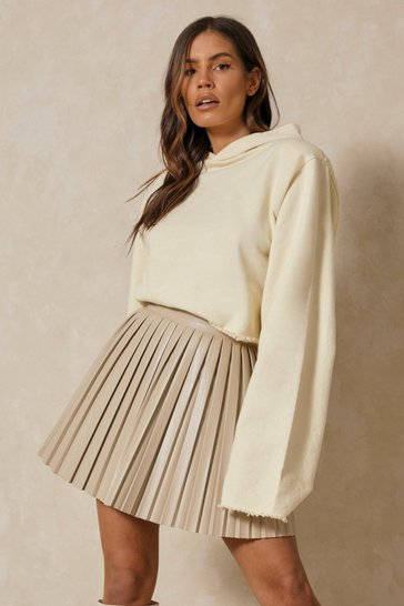 Stone Leather Look Pleated Mini Skirt