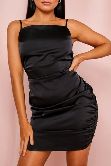 Black Satin Ruched Strappy Mini Dress