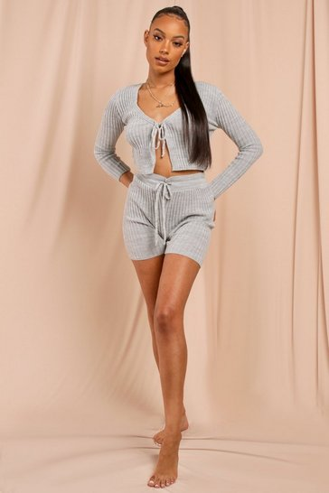 Grey Knitted Rib Tie Front Shorts Set