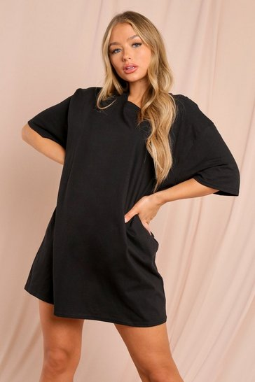 Black Oversized T-Shirt Dress