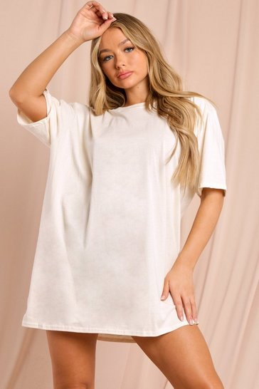 Sand Oversized T-Shirt Dress
