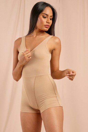 Nude Premium Ribbed Strappy Unitard