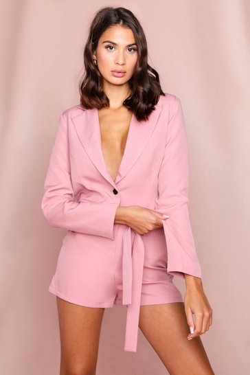Blush Cropped Relaxed Blazer