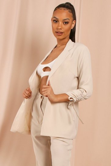 Stone Oversized Ruched Sleeve Blazer