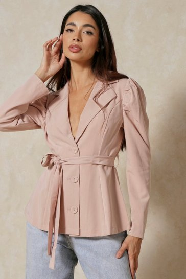 Blush Puff Sleeve Buttoned Belted Blazer