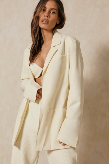 Cream Lined Oversized Blazer