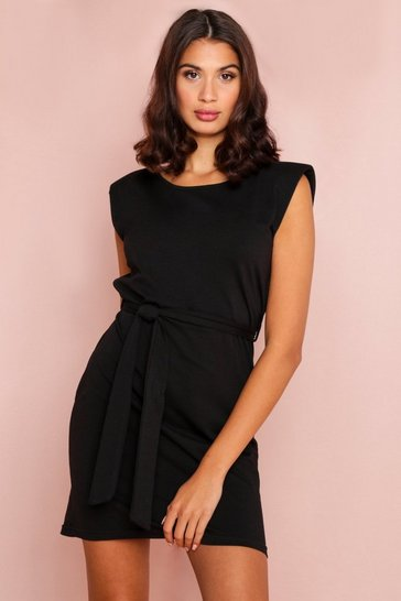 Black Shoulder Pad Tie Waist T-Shirt Dress
