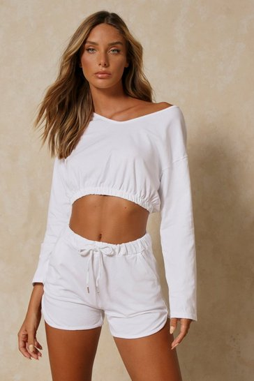 White Long Sleeve V Neck Short Set