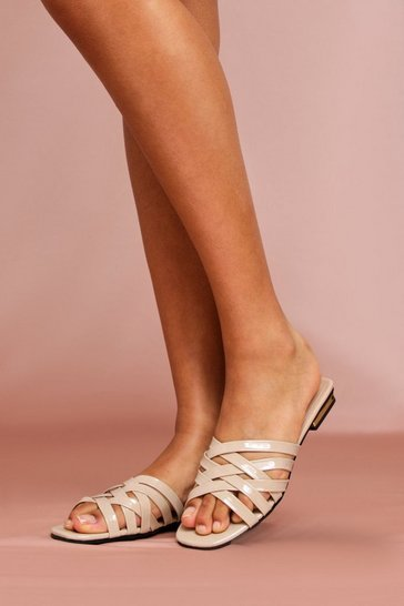 Nude Cross Strap Mules