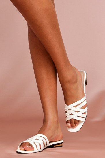 White Cross Strap Mules