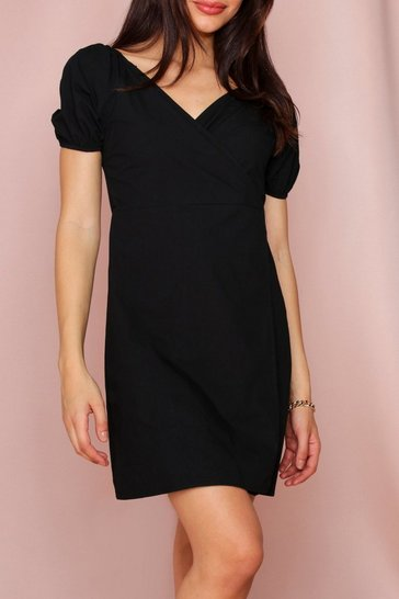 Black Off The Shoulder Wrap Dress