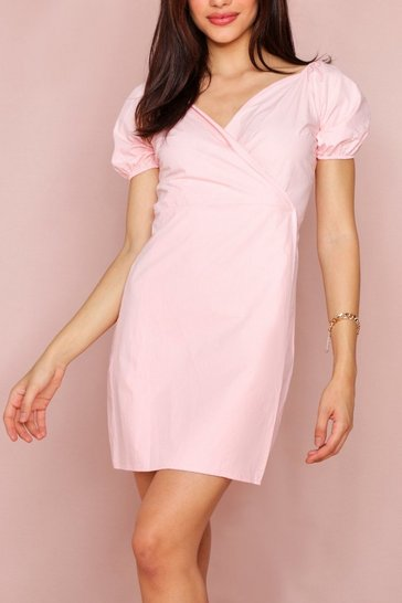 Blush Bardot Wrap Dress