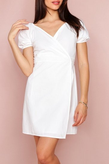 White Bardot Wrap Dress
