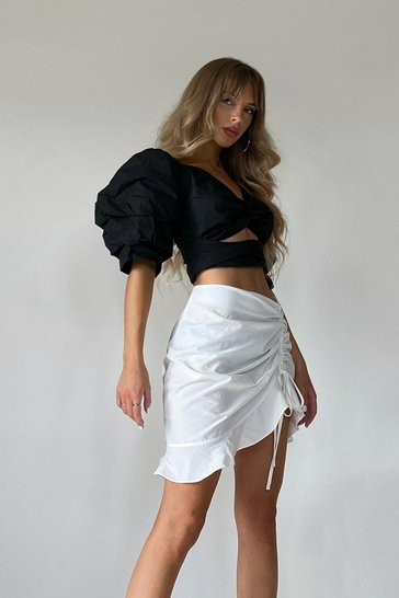Black Puff Shoulder Twist Front Crop Blouse