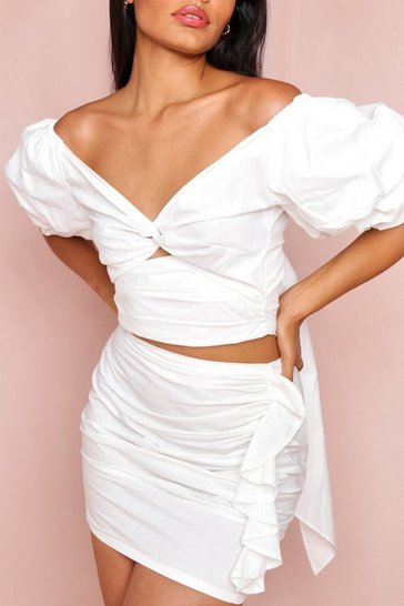 White Puff Shoulder Twist Front Crop Blouse
