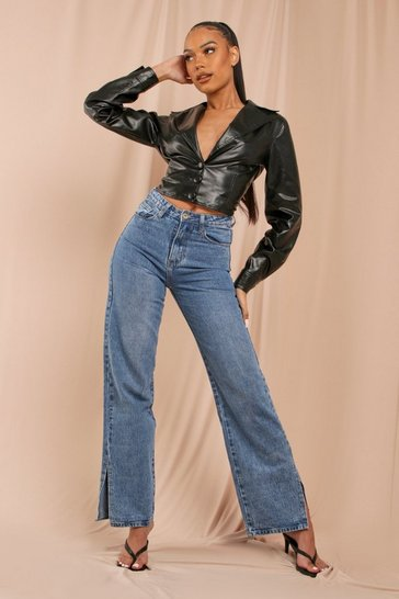 Mid wash Split Side Straight Leg Jeans