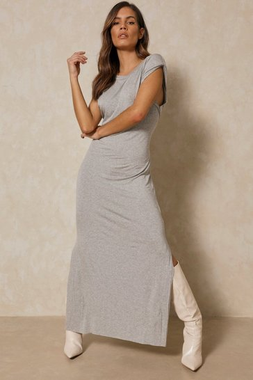 Grey Shoulder Pad Maxi T Shirt Dress