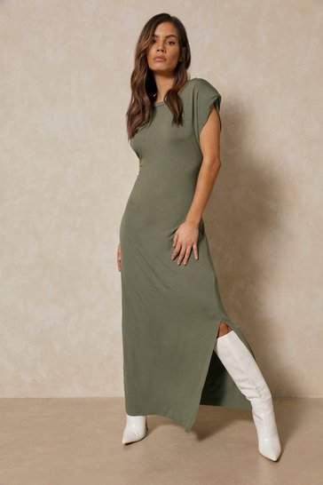 Khaki Shoulder Pad Maxi T Shirt Dress