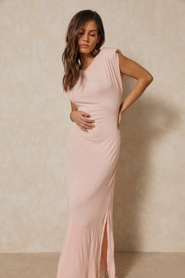 Pink Shoulder Pad Maxi T Shirt Dress