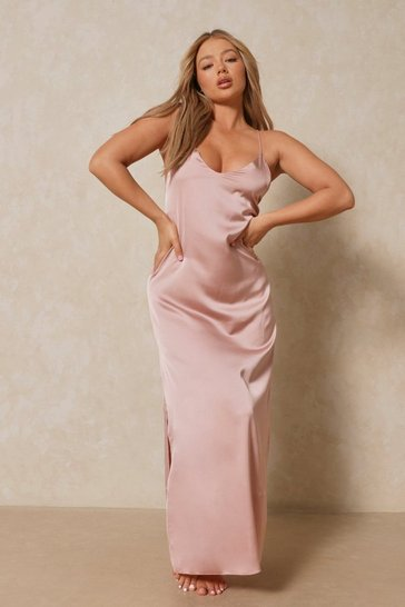 Taupe Satin Strappy Maxi Dress