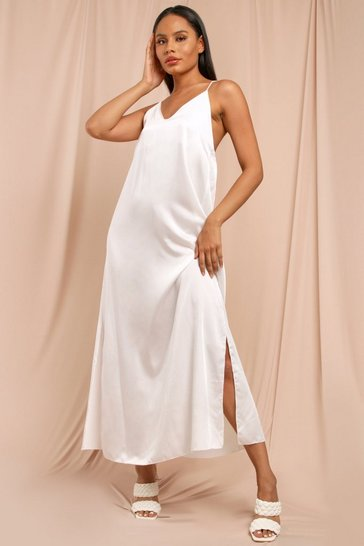 White Satin Strappy Maxi Dress