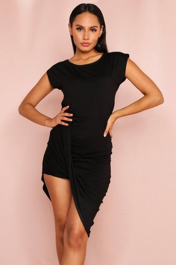 Black T Shirt with Ruched Skirt Set