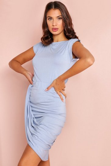 Blue T Shirt with Ruched Skirt Set