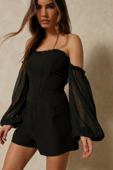 Black Bardot Frill Detail Playsuit