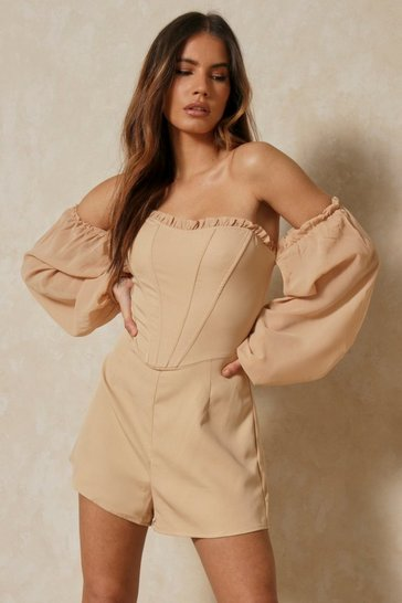 Brown Bardot Frill Detail Playsuit