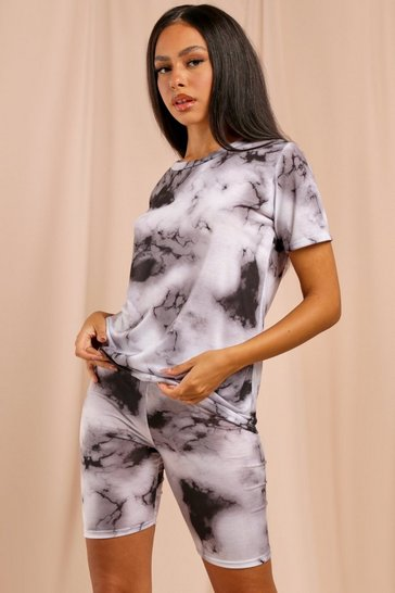 Black Tie Dye T-Shirt and Cycle Short Set