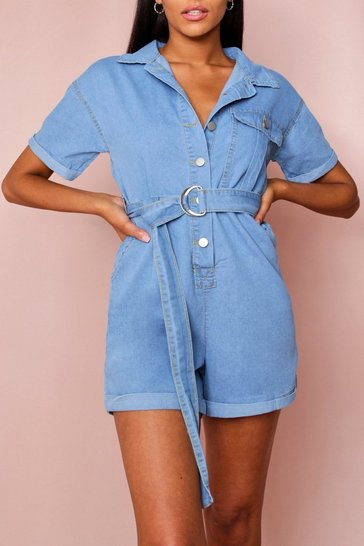 Light blue Denim Button Up Playsuit