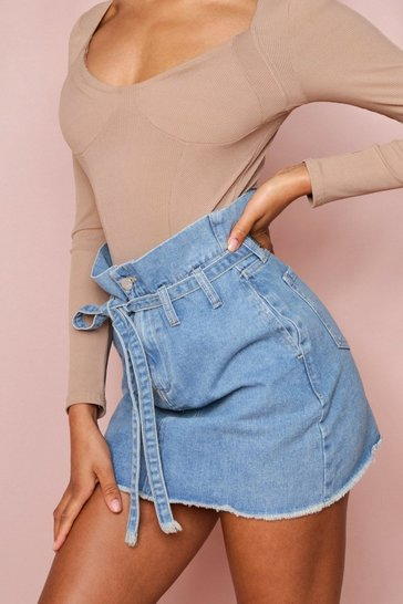Blue Belted Denim Skirt