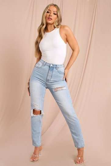 Blue High Waisted Distressed Mom Jean